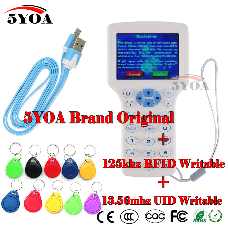 English 10 frequency RFID Copier ID IC Reader Writer copy M1 13 56MHZ encrypted Duplicator Programmer