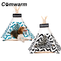 Comwarm Striped Pet Teepee House Pet Bed Cat Bed Pet House Portable Dog Tents House Bed for Small Dogs Best Selling Pet Supplies