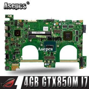 Asepcs 4GB + N550JK placa base para ordenador portátil For Asus N550JK N550JV Q550JV Q550J G550JK N550J placa base original de prueba I7 CPU GTX850M