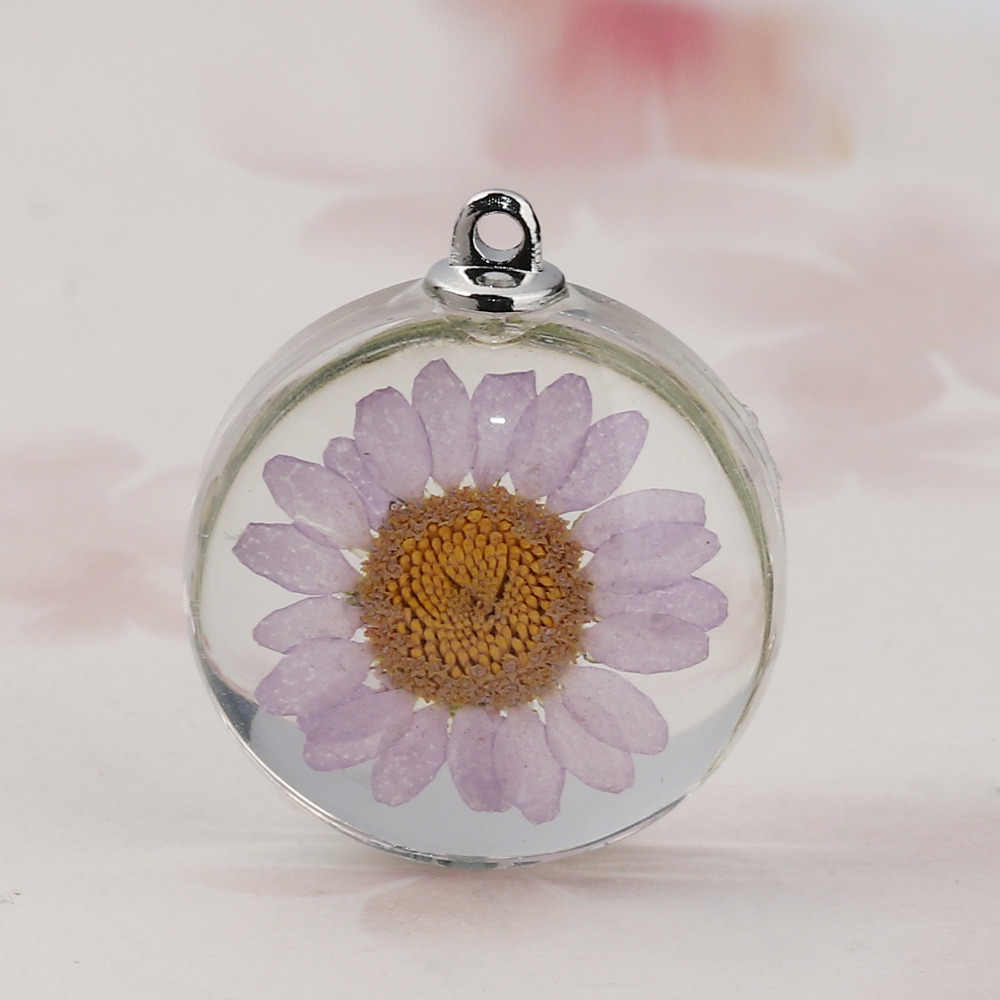"DoreenBeads Glass & Dried Flower Pendant Charms Round Chrysanthemum Flower Mauve Transparent 35mm(1 3/8"") x 30mm(1 1/8""), 2 PCs"