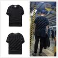 16ss мужские белые Черный тональные Cornelly Футболку с черный матовый диагонали с коротким рукавом футболка