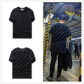 16ss mens off white Black tonal Cornelly T-shirt with black brushed diagonals short sleeve t shirt