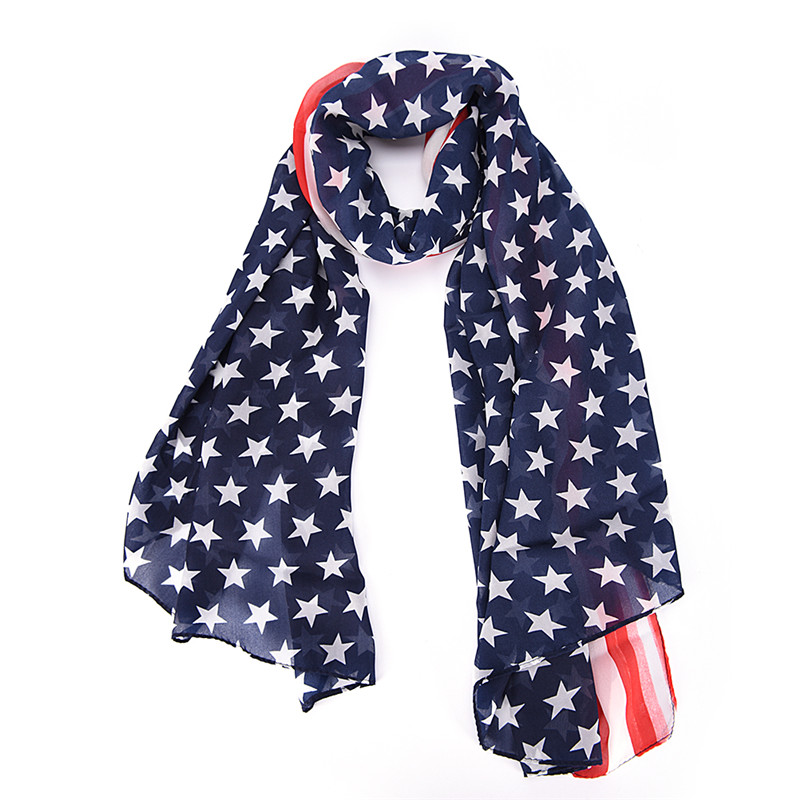 Scarves Muffler Women United States Flag Scarf Girl Neckerchief Fashion Soft Silk Chiffon Lenco Feminino American Flag Scarf