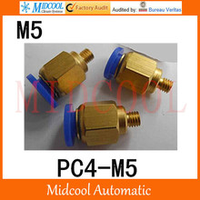 Quick connector PC4-M5,4mm to M5 male pass-through, brass pneumatic components