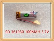 Bateria de Polímero Liter Energy Battery 3.7 V de Lítio 361030 100 Mah Mp3 Fone Ouvido Bluetooth Pequeno Brinquedo Caneta Gravação