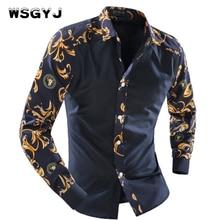 WSGYJ 2018 Men S Fashion Men Shirt Fancy Stitching Tide Slim Square Collar Dress Long Sleeved