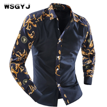 WSGYJ 2018 Men'S Fashion Men Shirt Fancy Stitching Tide Slim Square Collar Dress Long-Sleeved Male Shirt