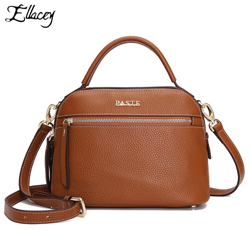 2018 New Genuine Leather Shoulder Shell Bag Retro 100% Cow leather Handbag Vintage Women Real Leather Crossbody Messenger Bag threepeas patchwork shoulder bag cow leather handbag women genuine leather messenger bag crossbody