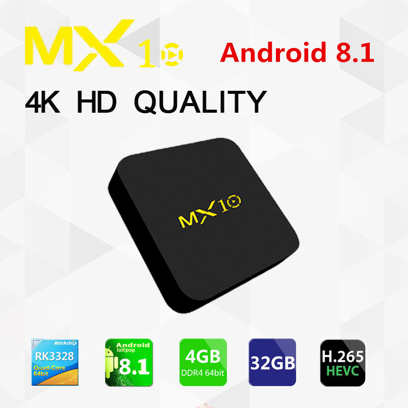 MX10 Smart TV Box Android 8.1 RK3328 Quad Core 64bit DDR4 4GB 32GB KD17.4 4K HD Wifi 100M LAN Set-top Box media player VS TX2