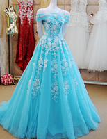 Dressv Ice Blue A Line Off The Shoulder Beading Long Evening Dress Appliques Lace Up Prom