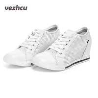 VZEHCU קיץ נעלי נשים עור אמיתי לנשימה אישה נעלי פלטפורמת בציר אופנה נעלי טריזים עד תחרה שחור/לבן 4d12