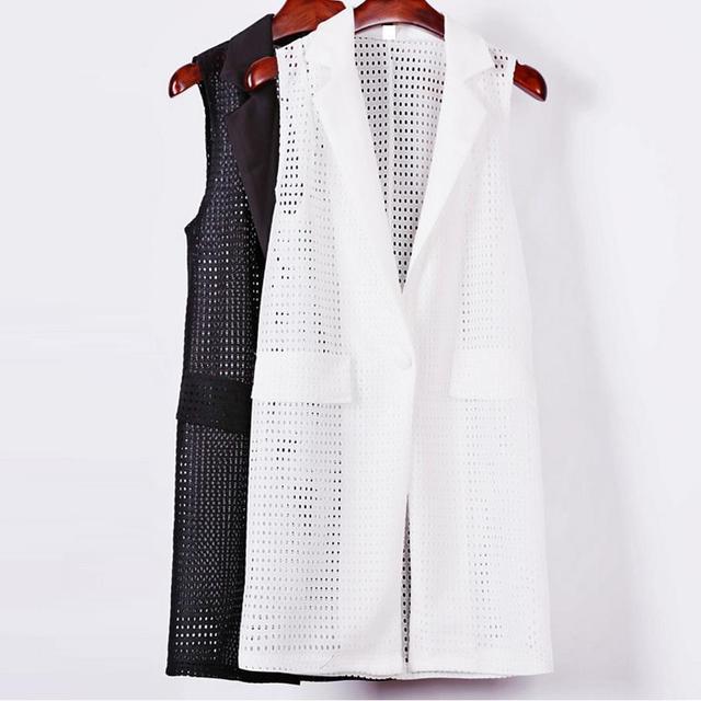 Mulheres branco preto Europen estilo longo casaco colete colete jaqueta sem mangas para trás divisão ocasional outwear top Roupa Feminino