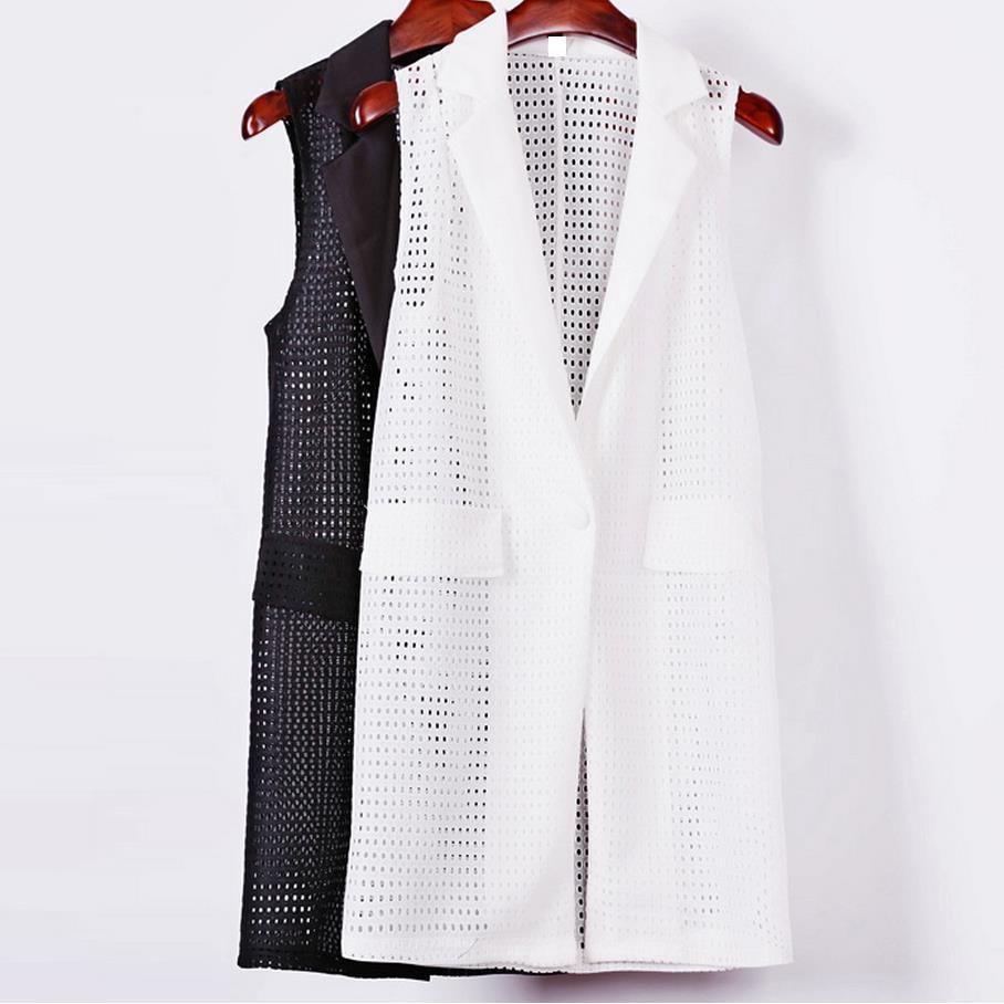 Női fehér fekete hosszú mellény kabát Europen stílusú mellény ujjatlan kabát vissza split ruházat alkalmi felső Roupa Nő