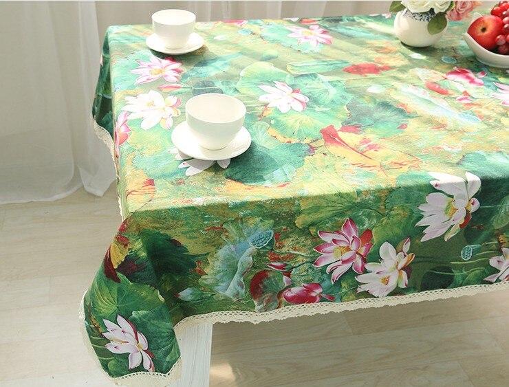 3D Новый цветок лотоса узор Скатерть льняная хлопок Скатерти кружево Обеденный Скатерть прямоугольная винтажные покрытие стола B138