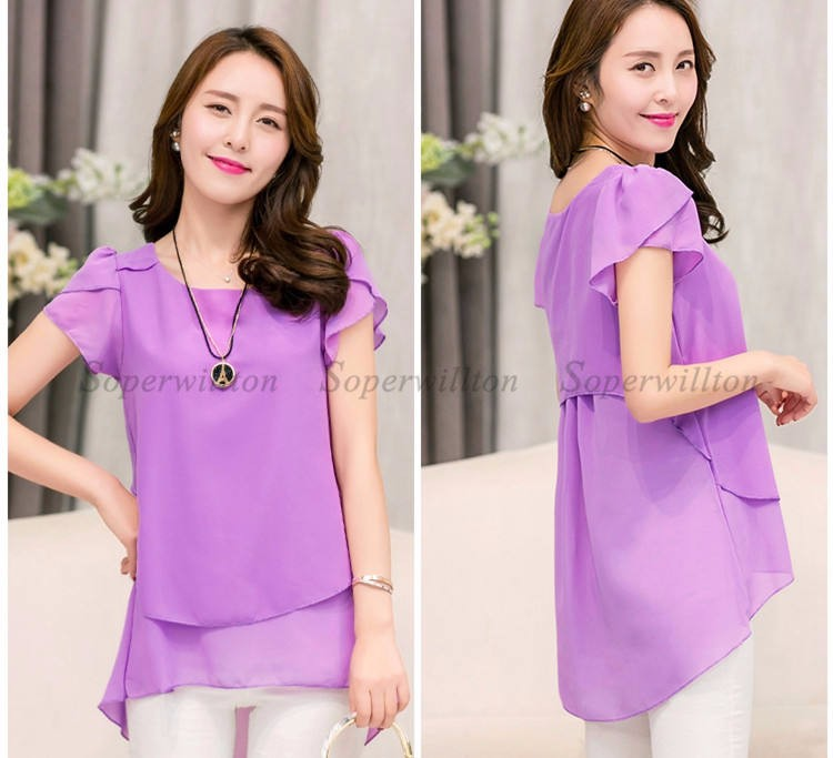 HTB1drERJFXXXXcqXFXXq6xXFXXX8 - Soperwillton New Summer Women Blouse Loose Shirt O-Neck Chiffon Blouse Female Short Sleeve Blouse Plus Size 5XL Shirts Tops