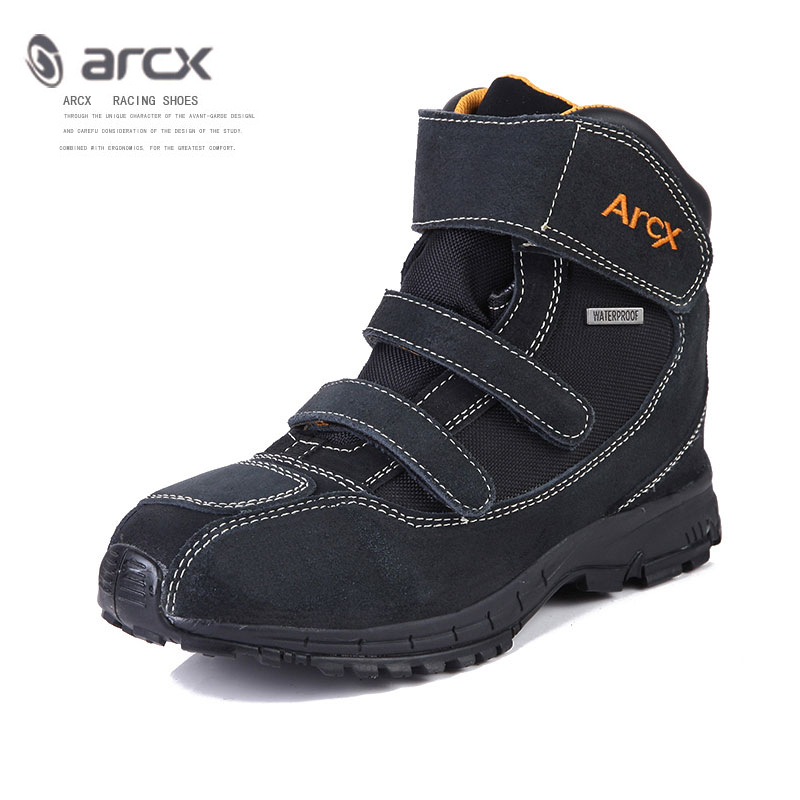 ARCX Cow Leather Motorcycle Boots Waterproof Moto Shoes Street Motorbike Motor Bike Motocross Chopper Boot Casual
