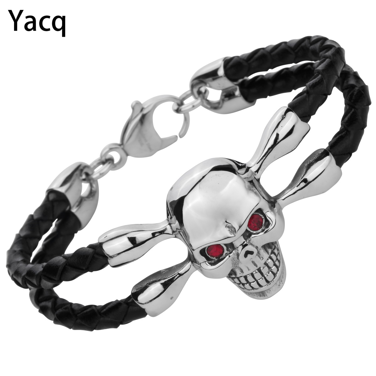 Black leather Skull Mens Bracelet Stainless Steel Biker Heavy Jewelry Fathers Day Gifts for Dad Boyfriend dropshipping 8.5 D109
