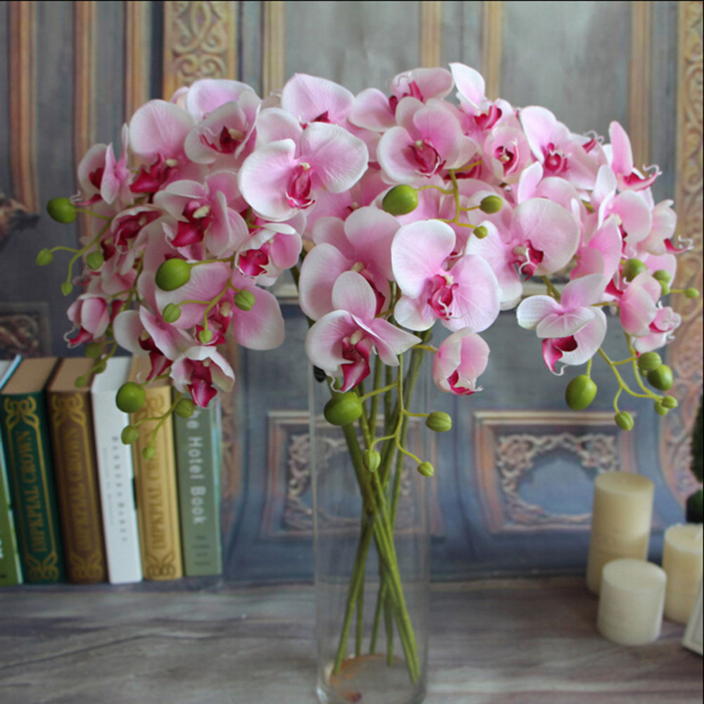 1pc fake phalaenopsis artificial orchid flower 6 colors for Artificial flowers for wedding decoration