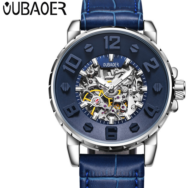OUBAOER Mens 2017 Luxury Brand Fashion Casual Men Watches Automatic Mechanical Watch Business Clock Leather Strap montre homme oubaoer fashion top brand luxury men s watches men casual military business clock male clocks sport mechanical wrist watch men
