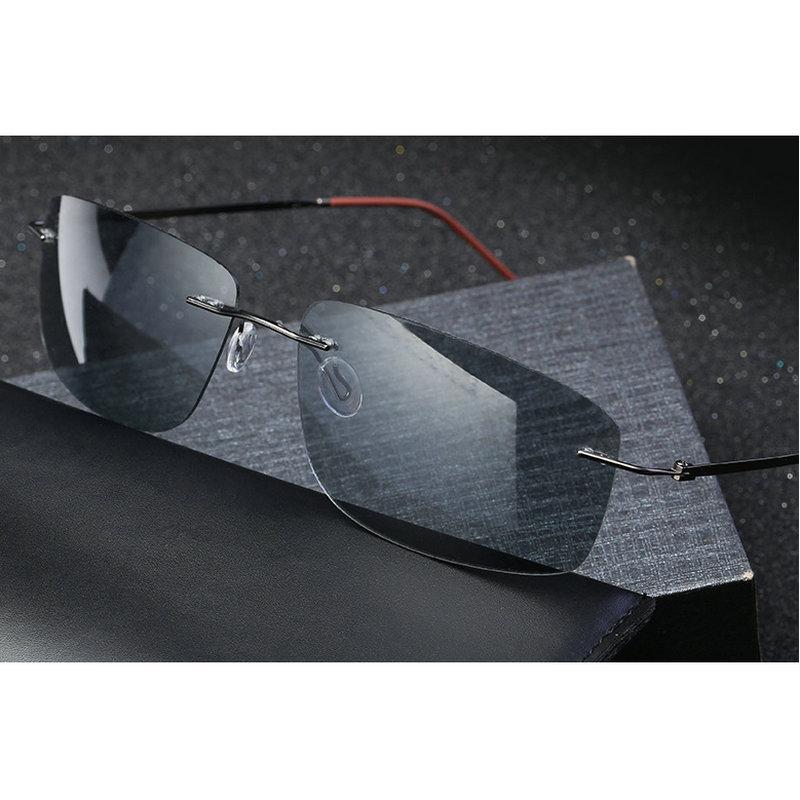 Ultralight Titanium Photochromic Sunglasses Polarized Men's Sunglasses Spring Anklet Brand Anti-glare Goggles With Box  NX