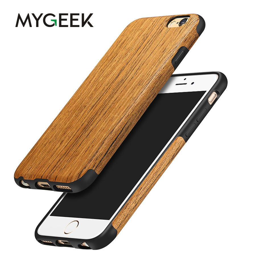 MyGeek Bois Couverture De Luxe Téléphone Mobile Sac Cas pour iphone 7 8 plus X (10) 5 5S 6 6 s téléphone Cas de Couverture Arrière