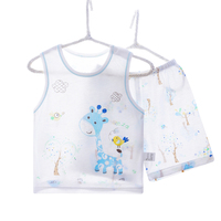 Brand Pajamas Kids Super Cool Bamboo Fiber Summer Sleeveless Children Sleepwear Baby Boys Girls Giraffe Print