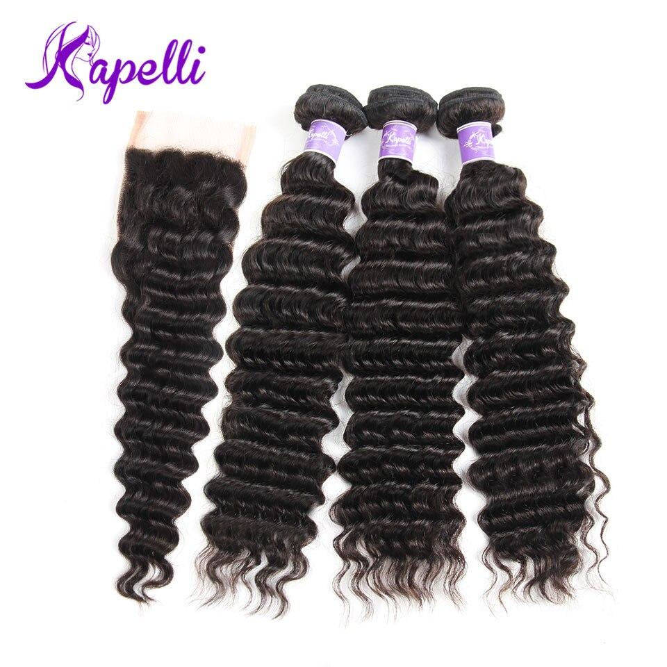 Deep Wave Bundles With Closure 3 Bundles Human Hair Bundles With Closure Free Part 4*4 Brazilian Hair Weave Bundlese Remy Hair