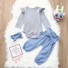 Get more info on the Newborn Baby Girls Clothes Set Long Sleeves Top+Pants+Headband Outfit Set Winter Clothes For Children Kids Clothing