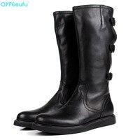 QYFCIOUFU/Новое поступление; высокие сапоги из натуральной кожи; мужские мотоциклетные ботинки с круглым носком; черные модные высокие сапоги с
