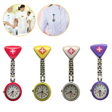 Protable Nurse Watches With Clip Red Cross Brooch Pendant Pocket Hanging Doctor Nurses Medical Quartz Watch