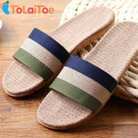 ToLaiToe In Stock Fashion Men New Linen Home Indoor Slippers Silent Sweat Striped Slippers For Summer