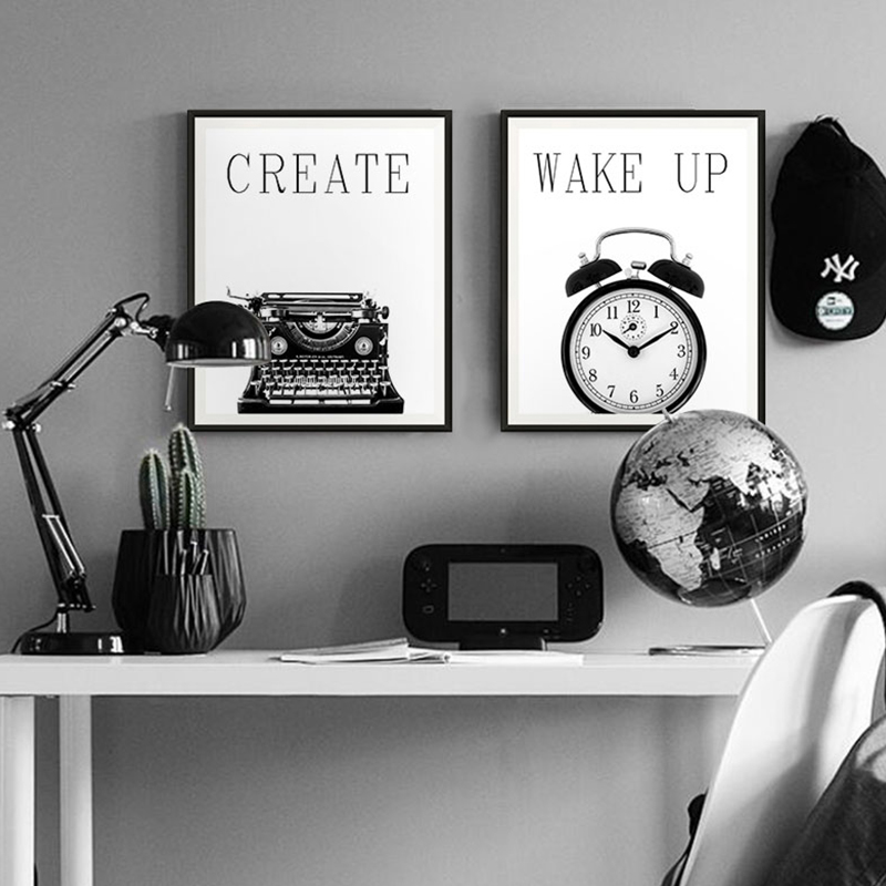 Modern nordic poster black and white retro industrial style multi pictyre still life living room decor canvas print typewriter in painting calligraphy