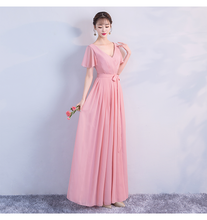 Long Chiffon Bridesmaid Dress for Wedding Party  Ladies Gowns Red Bean Pink Colour Back of Zipper