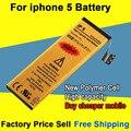 Новый Хорошее Качество 1440 мАч Золотой Мобильный Телефон Аккумулятор для iPhone 5 Батареи Бесплатная Доставка