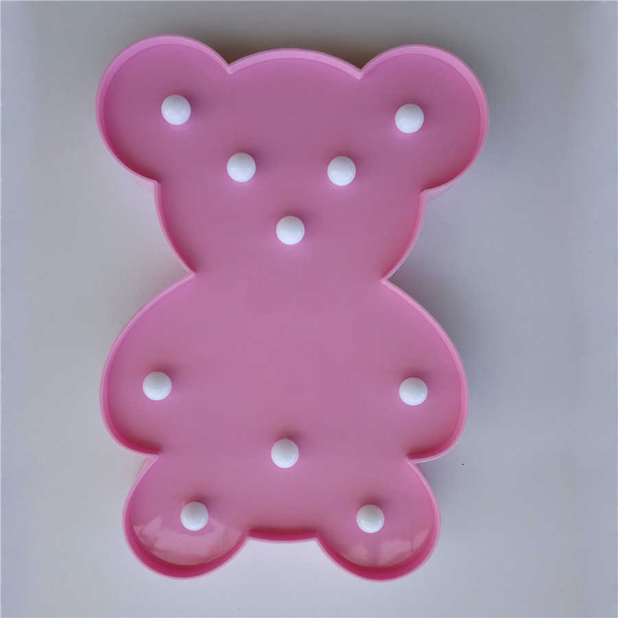 Милая лампа с медведем 3D Звездное сердце ночник светодиодный милый кролик Знак Новинка Единорог для маленьких детей декор для спальни детская Подарочная игрушка
