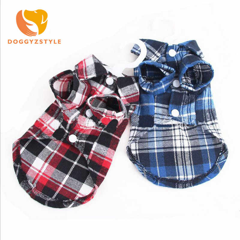 2018 Puppy Pet Dog Cat Costumes Grid Checker Dogs Shirt Tops Clothes Coat Apparel Dress XS S M L XL,chihuahua Clothes For Dogs