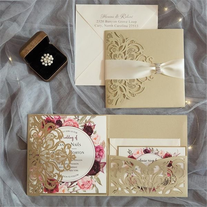 10 Pieces Tri-Fold Laser Cutout Openwork Flower Wedding Invitations Card Set Postcard High-end Business Dealings Can Print