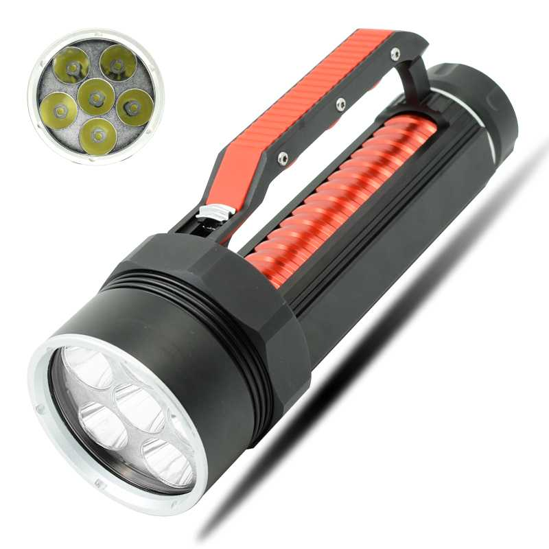 Diving Flashlight 6* XM-L2 LED Dive Torch Light Underwater 100m Scuba Flashlights Waterproof Lamp Lantern by 26650/32650 Battery 100m diver scuba flashlights diving flashlight led torch underwater light cree xm l2 lamp 3200lumen 18650 or 26650 batteries