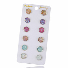 6 Pairs / Set Cute Round Stud Earrings For Women Accessories Bling Earring Sets Mixed Color Fashion Jewelry Birthday Gift