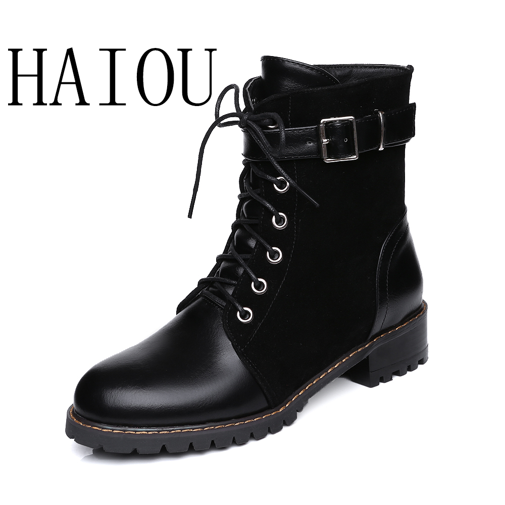 HAIOU New Fashion Martin Boots Genuine Leather Shoes Lace Up Cowboy Boot Black Patent Leather Boots Ankle Women Hoof Heel Rubber women led light shoes casual shoes led luminous boots unisex genuine leather ankle boots women usb charging martin boots 35 46