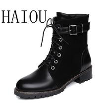 HAIOU Новая Мода Мартин Сапоги Обувь Из Натуральной Кожи Зашнуровать ковбойский Сапог Черный Лакированные Сапоги Лодыжки Женщины Копыта Пятки резиновые
