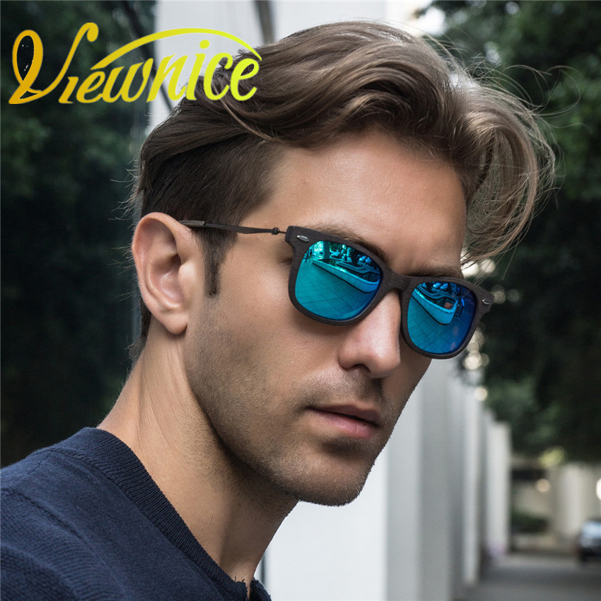 Viewnice New Fashion Luxury Polarized Polaroid Solglasögon Träkvinnor Blue Square Custom 2140 Oculos De Sol Man Acetate