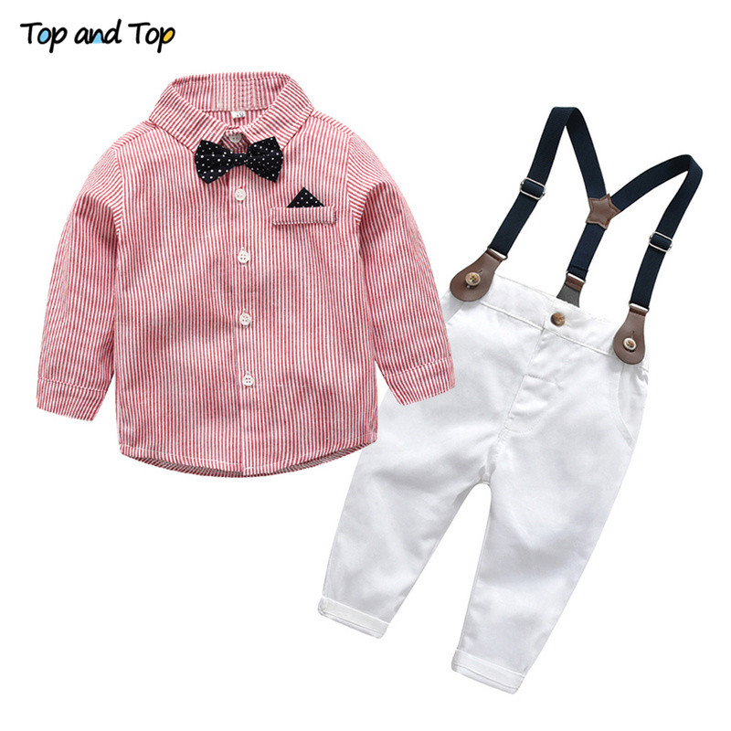 HOT 2PCS Baby Toddler Boys Plaid Shirt Tops Suspender Trousers Kids Clothes