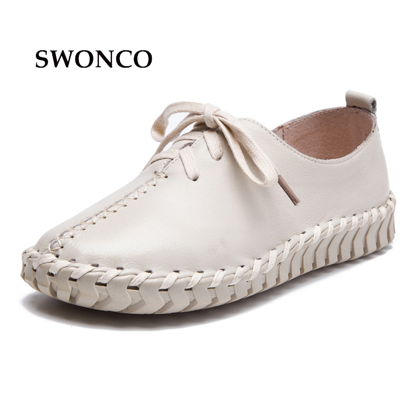 SWONCO Women's Flats Casual Shoes Spring Autumn Sewing Lace Up Ladies Shoe Genuine Leather Shoes Women Handmade Woman Shoe swonco women s flats ladies shoe genuine leather 2018 spring autumn female shoe ladies shoes leather lace up casual women flats