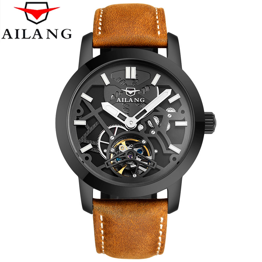 Relogio Masculino 2017 AILANG Men's Luxury Brand Military Mechanical Watches Leather Hollow Skeleton Watch Relojes Hombre relogio masculino 2017 forsining men s luxury brand military automatic mechanical watches leather watch relojes hombre