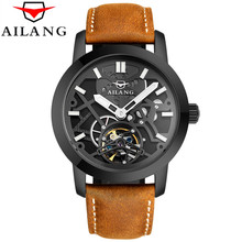 Relogio Masculino 2017 AILANG Men's Luxury Brand Military Mechanical Watches Leather Hollow Skeleton Watch Relojes Hombre