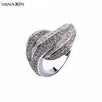 VANAXIN צורת עלה טבעות לנשים עם AAA נקה מעוקב זירקון שיבוץ נחושת איכותית סיטונאי Bijoux תכשיטי טבעת קלאסית