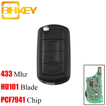 BHKEY 433Mhz Remote Car key For Land Rover Discovery 3 LR3 With Transponder Chip ID46/PCF7941 Chip HU101 Blade