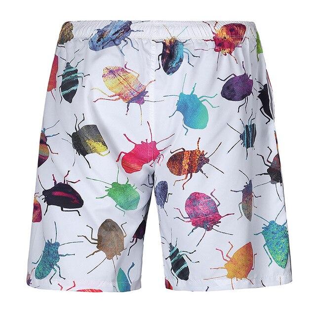 Korte Broek Wit Heren.Insect Print Heren Korte Broek Kleurrijke Insecten Graphics Zomer