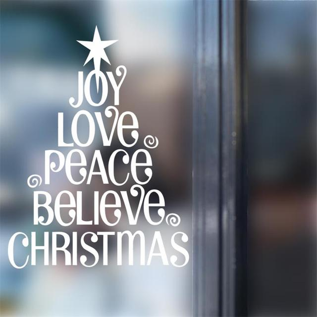 Letter words joy love peace blieve christmas happy new year tree window glass decoration wall stickers